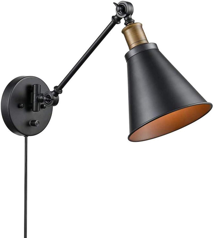 Retro Schwarz Metall Wandleuchte Rustikale Schlafzimmer Wandlampe mit Schalter und Stecker Verstellbare Flexible arm Nachttischlampe mit 1,8 Mt Kabel E27 Fassung für wohnzimmer Küche Esszimmer,1PACK