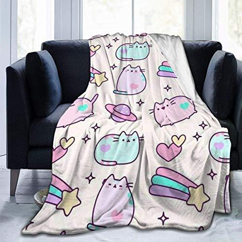 ujmki UltraSoft - Manta de micro forro polar para gato, manta de arco iris, cómodas mantas para sofá de 150 x 100 cm