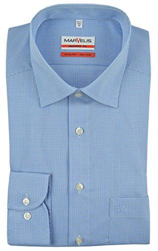 MARVELIS Modern Fit Hemd Langarm New Kent Karo blau Größe 42