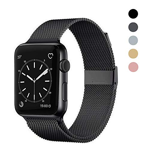 OSUVOX Compatible for IWatch Band, 38mm/40mm 42mm/44mm, Stainless Steel Loop Magnetic Band Compatible with Iwatch Series 5/4/3/2/1 (Black, 38mm/40mm)