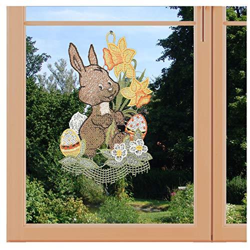 artex deko Zauberhaftes Oster-Fensterbild Hase mit Osterglocken aus Plauener Spitze