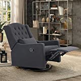 ALPHA HOME Recliner Chair Living Room Chair Ergonomic Glider Chair Rocking Swivel Reclining Sofa for Elderly Back Pain Linen Fabric Lounge Adjustable Club Home Theater Seat with 4 Positions, Black