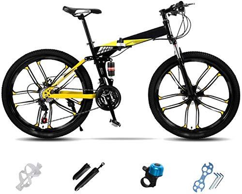 Lightweight Folding Mountain Bike Bike Foldable City Commuter Bike Men's Women's Mountain Bike 24 Inch 26 Inch Double Disc Bicycle-D_24''