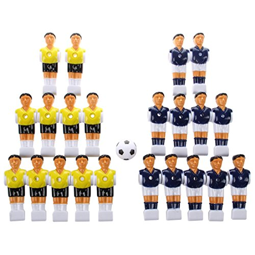 ACAMPTAR 22pcs Foosball Hombre Tabla Hombres Hombre Jugador de Futbol Parte Amarillo + Azul Marino con Pelota