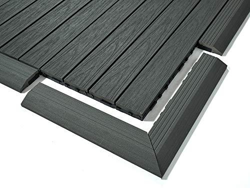Dura Deck Baldosa Resistente, 4 rampas de borde de esquina de azulejos compuestos, WPC sólido, entrelazado resistente al agua y a los rayos UV, instalación rápida, gris