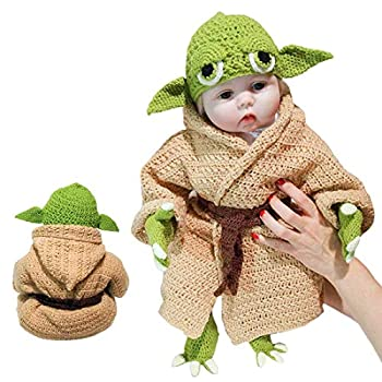 Crochet Star Wars Yoda Baby Costume Set Baby Costume Photography Prop For Newborn Hand Mad Photography Prop