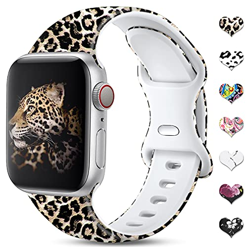 CeMiKa Leopard Straps Compatible with Apple Watch Strap 38mm 40mm 42mm 44mm for Women, Silicone Pattern Printed Replacement Band Compatible with iWatch Strap SE/Series 6 5 4 3 2 1, 38mm/40mm-S/M