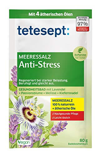 tetesept Meeressalz Badezusatz Anti-Stress – Badesalz mit ätherischen Ölen - beruhigt und regeneriert bei starker Belastung – 1er Pack (1x 80 g)