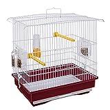 Ferplast Jaula para Canarios y pequeños pájaros exóticos GIUSY con Accesorios y comederos giratorios, Robusto Alambre Pintado Blanco y cubeta de plástico Rojo, 39 x 26 x h 37 cm