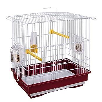 Ferplast Cage pour Canaris et Petits Oiseaux Exotiques Giusy Cage Rectangulaire pour Oiseaux, Métal Robuste Vernis Blanc et Bac de Cage en Plastique Rouge, 39 X 26 X H 37 cm