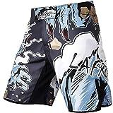 LAFROI QJK01 Pantalones cortos para hombre, con cordón y 1 bolsillo, para artes marciales mixtas, cross training y boxeo, Hombre, Hombre lobo, S
