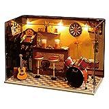 Jeffergrill 3D DIY Holz Miniatur Puppenhaus Kits Modellhaus Moderne Mini Bar mit Kunststoff und Holz...