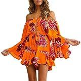 Fixmatti Women Boho Summer Romper Casual Floral Print Off Shoulder Strapless Shorts Jumpsuit