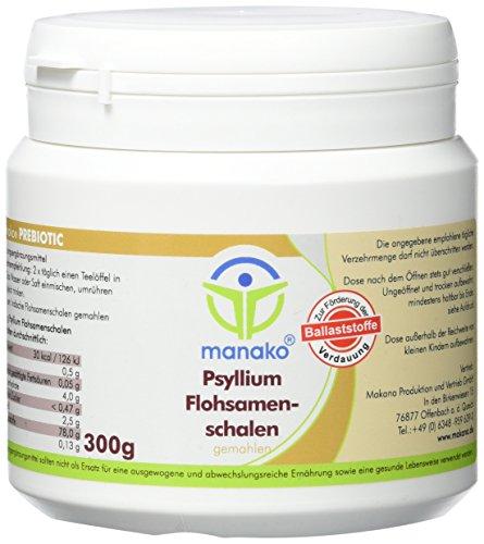 manako ® Flohsamenschalen, fein gemahlen, prebiotisch, 300 g Dose (1 x 0,3 kg)