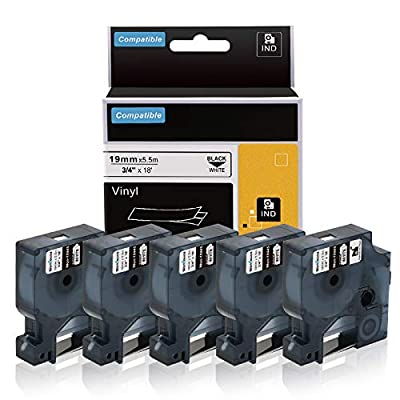 "Wonfoucs Compatible Label Tape Replacement for DYMO Rhino Industrial 3/4"" Permanent Vinyl Label Tape Compatible with DYMO Rhino 4200 5000 5200 6000 Label Maker, Black on White (DYMO 18445), 5 Pack"