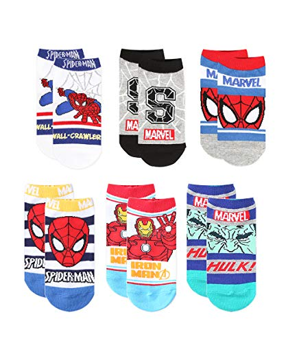 6 Pairs Premium No Show Socks for Boys, Multicolor, 4-6 years old