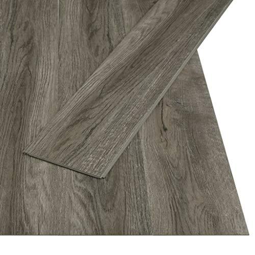 3,51 m² PVC Klickboden Laminatboden Wasserdichter Bodenbelag Schimmelbeständig Dielen für stark frequentierten Räumen wie Küche, Bad, Flur und Wohnzimmer, 122 x 18 cm, Stärke 4 mm, Grau und Braun
