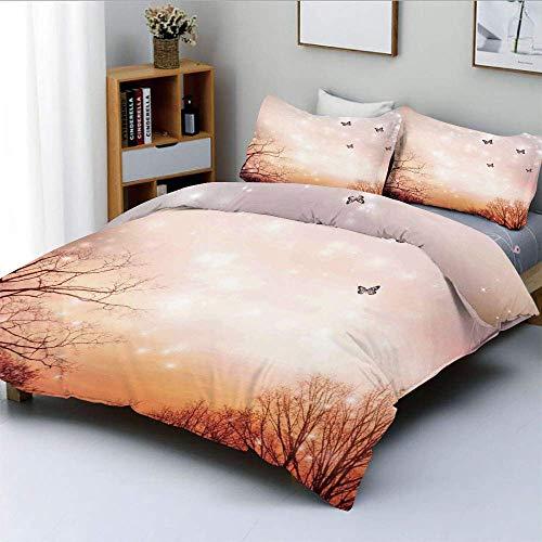 Qoqon Bettbezug-Set, verträumte Schmetterlinge über Bäumen Romantischer Himmel Künstlerisches DesignDekoratives 3-teiliges Bettwäscheset mit 2 Kissenbezügen, Kinder und Erwachsene