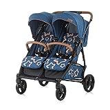 Chipolino Geschwisterkinderwagen Passo Doble blau klappbar, 73 cm breit, Fußsack