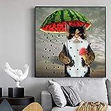 Impresiones en lienzo Gato sosteniendo un paraguas de sandía Imagen Arte de la pared Pinturas Carteles Niños y niñas Dormitorio Decoración del hogar 23.6 'x23.6' (60x60cm) Sin marco