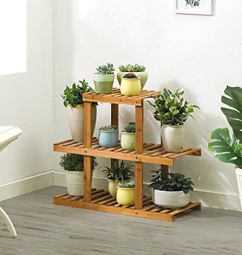 Support de fleur, support de plante en bois à 3 couches, étagère de rangement/étagère de jardin, pour cadre de décoration de balcon intérieur ou extérieur 64 × 28 × 60 cm