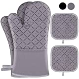 Jaweke Oven Mitts and Pot Holders 4Pcs Set, Extra Long 500℉ Heat Resistant Oven Gloves with Cotton Lining, Non-Slip Silicone Surface for Kitchen Cooking, Baking, BBQ(Grey)