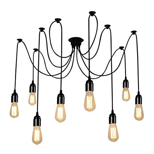 ONEVER E27 Loft Antiguo candelabro Moderno Chic Industrial comedor luz Ajustable DIY techo araña luz lámpara colgante con 8 Light Heads Adaptador No Bulbos [Energy Class A ++]