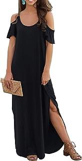 97fcab6c4 GRECERELLE Women's Summer Casual Loose Long Dress Strapless Strap Cold  Shoulder Short Sleeve Split Maxi Dresses