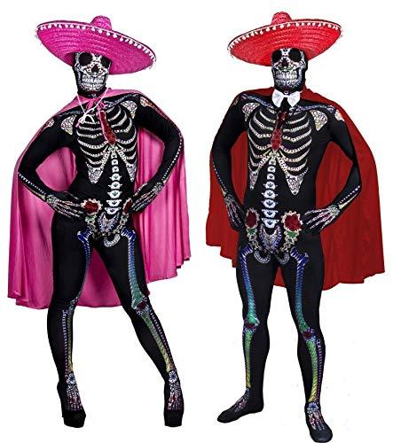 I LOVE FANCY DRESS LTD Paare Sugar Skull Skin Suit VERKLEIDUNG = 2 KOSTÜME + 2 SOMBREROS + 2 UMHÄNGEN+WEISSEN Fliege =Halloween Fasching Tag DER Toten=XLarge+XLarge