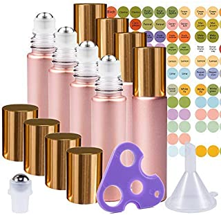 Rose Gold Ultimate Essential Oil Roller Bottles Set With Stainless Steel Balls, 8 Pack 10ml Leakproof Glass Bottle With 9 ...