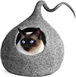 MEOWFIA Premium Cat Bed Cave (Large) - Eco Friendly 100% Merino Wool Beds for Cats and Kittens (Large, Light Grey Drop)