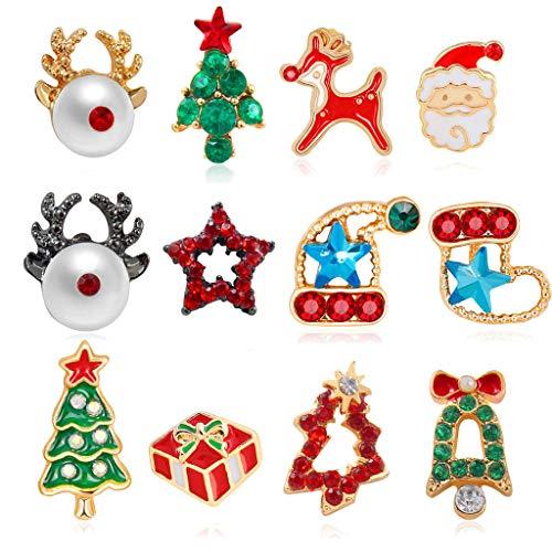 CAREMiLLE 6 Pares de Pendientes de botón de Navidad con Copo de Nieve, Kit de Pendientes de árbol de Navidad de Papá Noel, Pendiente de Oreja