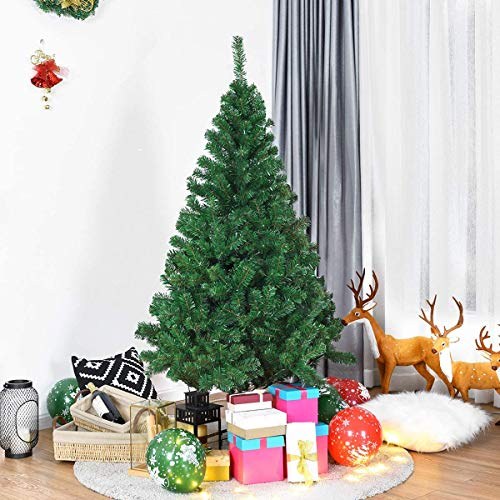 Goplus Artificial Christmas Tree with Solid Metal Stand for Holiday Indoor and Outdoor Decoration (7 feet)