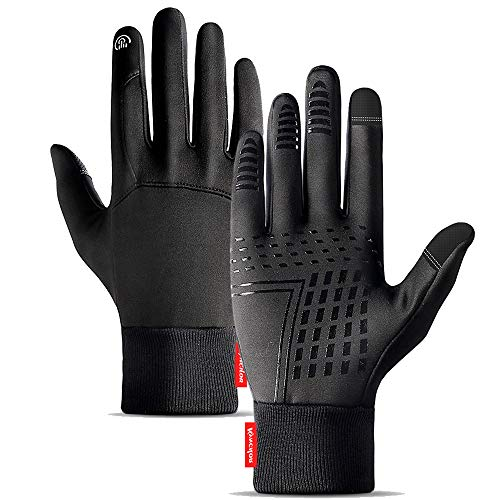 ATNKE Unisex Winter Fahrradhandschuhe Männer Frauen Touchscreen Handschuh Kaltes Wetter Warme Handschuhe Trainingshandschuhe mit aktualisiertem verdicktem Fleecefutter/Black/L