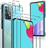 [2+2+1 Pack] Zeking 2 Pack Tempered Glass Screen Protector +2 Pack Camera Lens Protector + 1 Pack Crystal Clear TPU case for Samsung Galaxy A52 5G, Full Body Protective