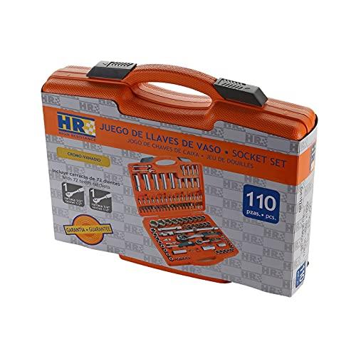 HR 192393 Llaves de Vaso Juego de 110 Piezas. Fabricadas en Acero al Cromo Vanadio. para Industria, Mecánica, Automoción, Instaladores