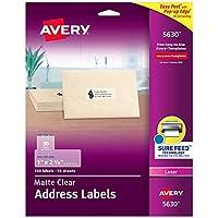 Avery 5630 レーザーアドレスラベル 1インチ x 2-5/8インチ 750/BX マットクリア