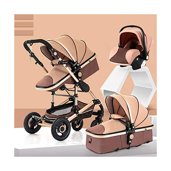 HHRen Multi-Purpose Baby Stroller High Landscape Multi-Function Sitting And Lying Two-Way Four-Wheel Shock Absorber Folding Newborn Child Trolley Baby A,Brown HHRen ✔ The push handle can be adjusted in multiple levels, high-quality linen fabric, stylish atmosphere, water absorption and dirt resistance, and UV protection; bold and thick aluminum alloy frame, waterproof and rustproof; three-sided mesh ventilation, breathable, refreshing ✔ Triple shock absorber: front wheel built-in spring shock absorber, wear-resistant EVA rear wheel, independent frame shock absorber, good shock absorption effect, good grip, strong shock absorber at the root of the frame, durable And good flexibility ✔Exquisite design, better safety performance: one-button release of the seat belt, the armrest can be opened, the rear storage bag, the enlarged storage basket, the non-slip thickened pedal 1