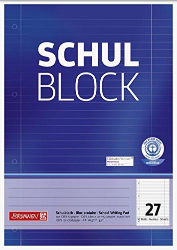 Brunnen 105260701 Recycling-Block (für Schule und Büro DIN A4, 50 Blatt, kopfverleimt)