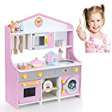 Tribesigns Wooden Toy Kitchen for Kids - Country Play Cooker withChildren's Role Play