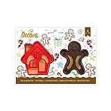 Decora 0255094 Set 2 Tagliapasta Gingerbread Man & House In Plastica 8/7 X H 2,
