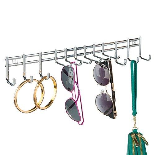mDesign Soporte para bisutería – Colgador de Pared para Pendientes, Gafas de Sol, Collares y demás Accesorios – con 12 Ganchos para Pared – Color: Cromado