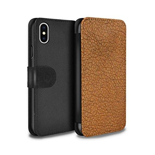 Stuff4 PU Pelle Custodia/Cover/Caso/Portafoglio per Apple iPhone XS/Cacao Marrone/Effetto Toppa in Pelle Disegno