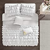 Intelligent Design Cozy Comforter Casual Waterfall Multi Layer Ruffle All Season, Hypoallergenic Cover, Soft Bedding Set with Matching Sham, Decorative Pillow, Full/Queen, White