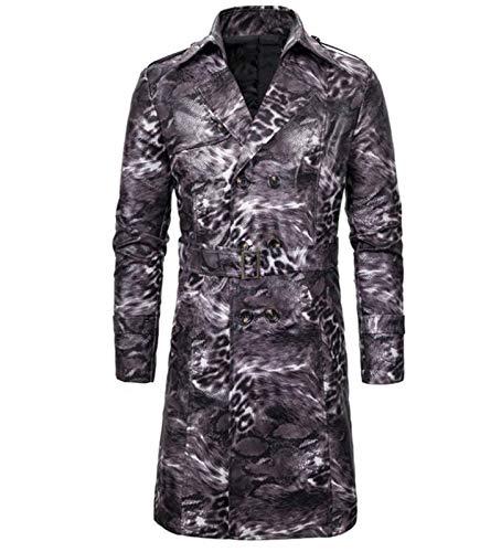TSTZJ Capa de zanjas de los Hombres Delgada Larga Larga cinturón de Solapa de Doble Pecho Chaqueta Larga Cubierta de Trinchera de Leopardo de Gran tamaño (Color : Light Gray, Size : L)