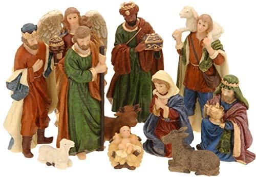 made2trade Juego de figuras de belén de Navidad con 11 figuras en diseño clásico para decoración de belén