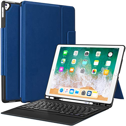 iPad Pro 12.9 Case with Keyboard Compatible for iPad Pro 12.9' 2015/2017, Ultra-Thin PU Leather Silicon Rugged Shock Keyboard Stand Case with Pencil Holder (Not Fit for 2018 New ipad)-Blue