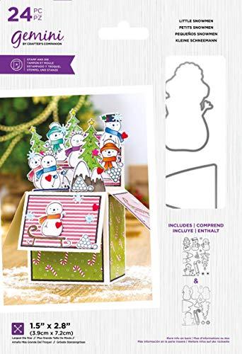 Crafter's Companion Gemini - Juego de sellos y troqueles de corte de metal (acrílico), diseño de muñecos de nieve, color plateado, talla única