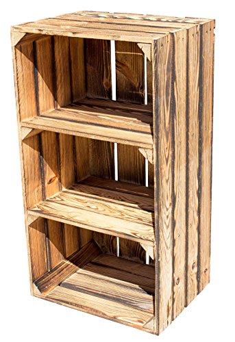 Vintage-Möbel24 GmbH 2er Set GEFLAMMTER HOCHSCHRANK MIT 2 BÖDEN 68X40X31CM, Holzregal, Regal, Obstkisten,Weinkiste,Apfelkiste,Holzkiste,Schrank