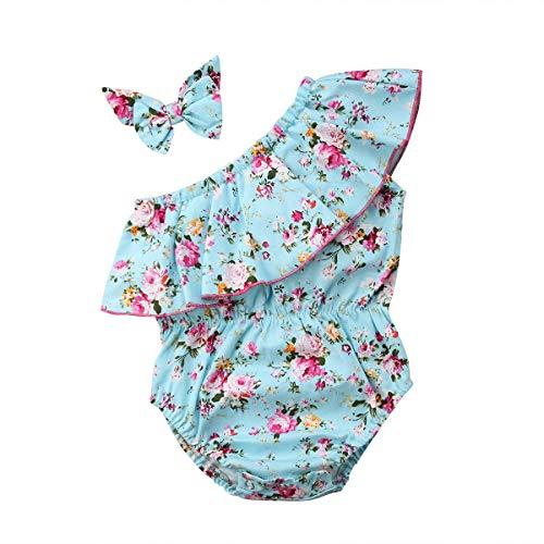 xiaofeng214 Lindo recién Nacido de los bebés Floral Traje de baño de Las Colmenas de la Manga un Hombro Mono 2 Piezas de Diadema Sunsuit Trajes Set (Color : Blue, Size : 6 12 Months)